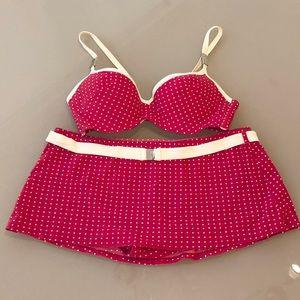 Calvin Klein Swim Red Pink Polka Dot Two Piece